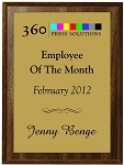 5 x 7 Full Color Employee of the month plaque
