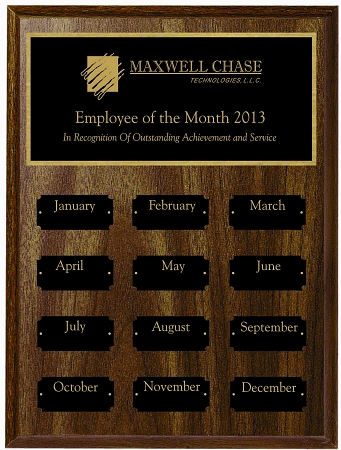 9x12 employee of the month plaque
