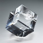 Cube Crystal Paperweight - MA - 2.5
