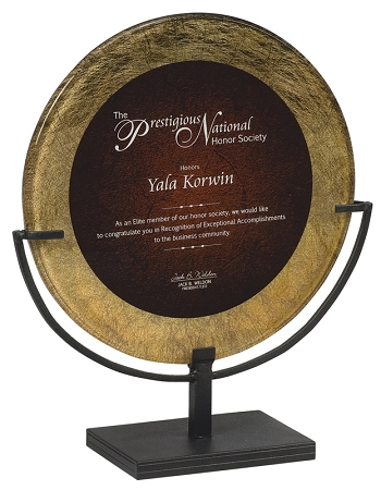 Red Mist Round Acrylic Award Plaque With Iron Stand