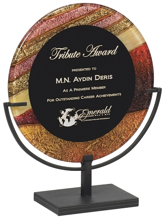 Round Acrylic Award Plaque With Iron Stand
