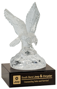 Small Crystal Eagle on Wooden Base 10""