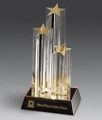 Triple Star Acrylic Award - 11""