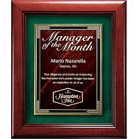 CD655 Cherry Finish  Award Plaque with Rect. Frame PA