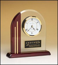 "Piano Finish Desk Clock with Accents 7""x8"""