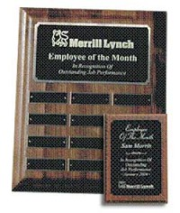 "9""x12"" Walnut Employee of the Month Plaque - 7003"