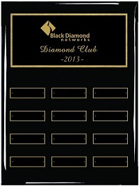 "9""x12"" Black Piano Finish Employee of the Month Plaque"