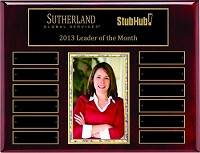 "10.5""x13"" Piano Finish Employee of the Month Plaque with Photo"