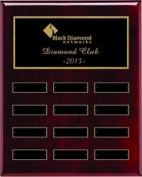 "9""x12"" Rosewood Piano Finish Employee of the Month Plaque"