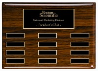 "9"" x 12"""" Piano Finish Walnut Color Employee of the Month Plaque"