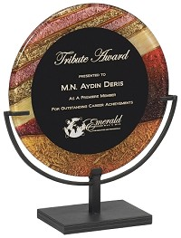 round acrylic award plaque with iron stand. Black Bedroom Furniture Sets. Home Design Ideas