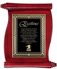 "Scroll Piano Finish Award Plaque 10.5""x13"""